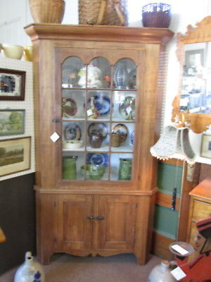 S25 Antique Two Pc Corner Cupboard Cabinet Basswood Cathedral Doors Early Glass