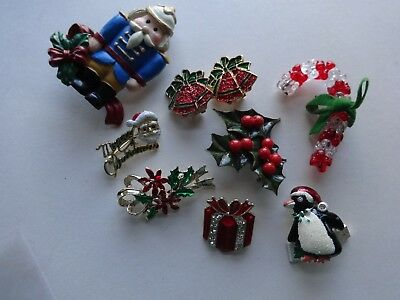 Lot Vintage Christmas Pins/Brooches/Earrings Holly Bells Gift Box GERRY