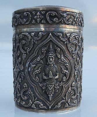 ANTIQUE SILVER THAI SIAM Round LIDDED CANISTER BOX w/FIGURES TEA/SPICE SIAMESE