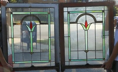 Pair Antique Chicago-Style Bungalow Leaded Glass Windows, 1920's Great Condition