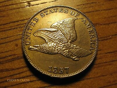 1857 1C Flying Eagle Cent Lustrous Uncirculated Details Full Tail Feathers Wow!