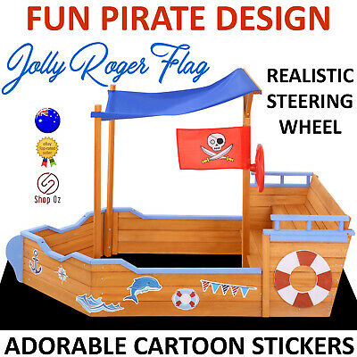 KIDS WOODEN COVER SANDPIT SANDBOX Children Timber Sand Box Pit Canopy Boat Ship