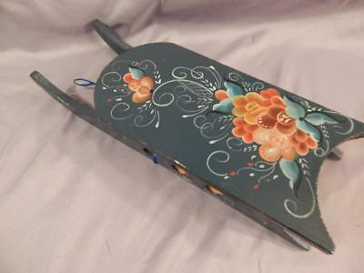 Norwegian Rosemaling Painted Wood Sled Folk Art handpainted 1996 Decorative Art