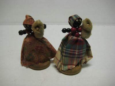 Vintage Wooden Bead Doll Figure Lot of 2 Black Americana Spun Cotton