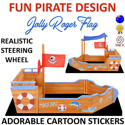 KIDS WOODEN SANDPIT SANDBOX Children Timber Sand Box Pit Boat Ship Pirate Play