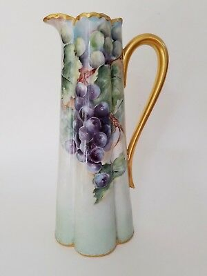 """Haviland Limoges France Tankard Pitcher Grapes 12"""" Tall Excellent Condition"""