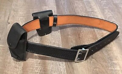 Police DUTYMAN LEATHER DUTY BELT SIZE 44 Black 1021U w/ Jay-Pee Handcuff Case