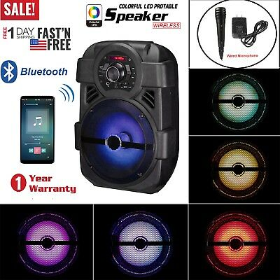 Portable Party Bluetooth Speaker Rechargeable Stereo Led Light with Mic