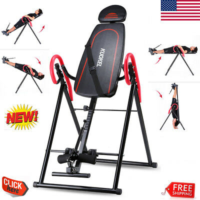 Foldable Inversion Table Back Therapy Pain Flip Fitness Heavy Duty Upside Down