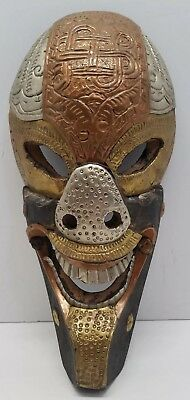 Vtg Antique Nepal Ethnographic Fierce Ornate Wood & Metal Nepalese Tribal Mask