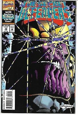 The Secret Defenders #12 Vf/nm 1994 Thanos Prism Foil Cover Marvel Comics
