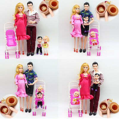 AU 6pcs/lot Dolls Family Educational Real Pregnant Doll Happy Family for Barbie
