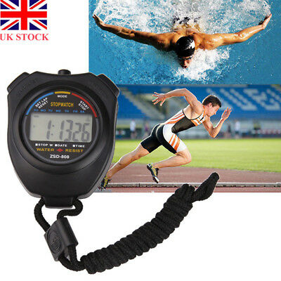 UK Digital Handheld Sports Stopwatch Stop Watch Timer Alarm Counter Chronograph