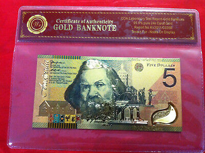 $5 Gold Banknote 24K Coloured Gold 2001 Australia Limited Note In Cert. Sleeve