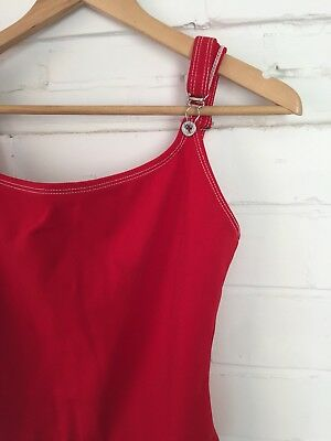 Vintage Guess Ribbed Red Swimsuit Onepiece / Size S-M