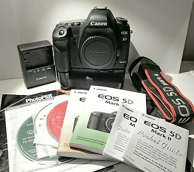 Canon EOS 5D Mark II 21.1MP Digital SLR Camera - Black (Body+Battery Grip) w/box