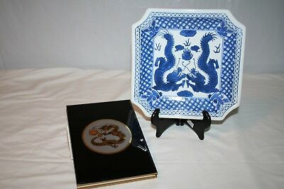 Blue & White Ironstone Dragon Plate on Stand & Laquerware Address Book
