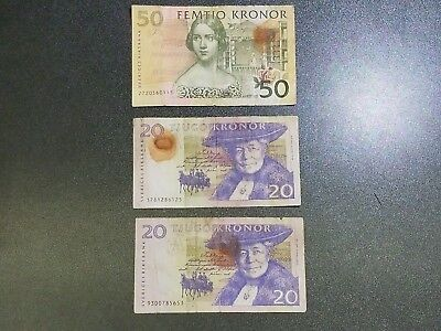 Lot of 3 Modern Banknotes of Sweden 20, 50 Kronor #ALF3A