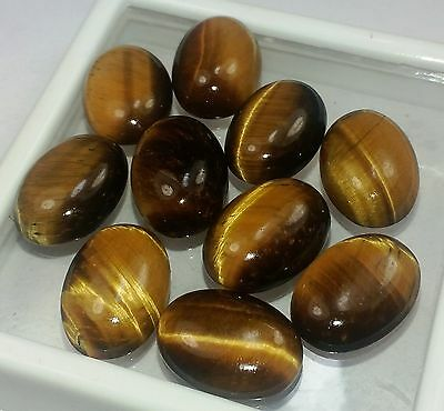 40.15 CT 10 Pcs Yellow Tiger Eye 100%Natural 11x8x4 mm Wholesale Lot Gems W1580