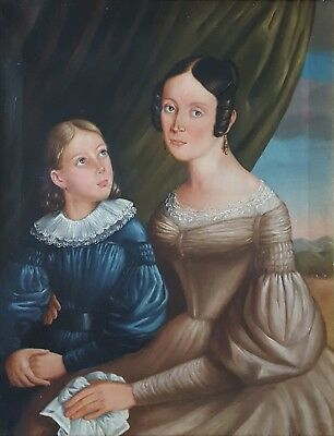 Antique French Portrait of a Mother and Daughter 19th Century