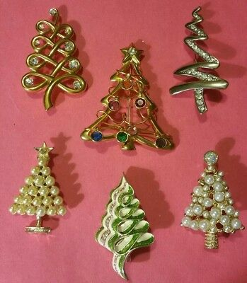 Vintage Lot of 6 Sparkling Rhinestone & Faux-Pearl Christmas Tree Brooches Pins