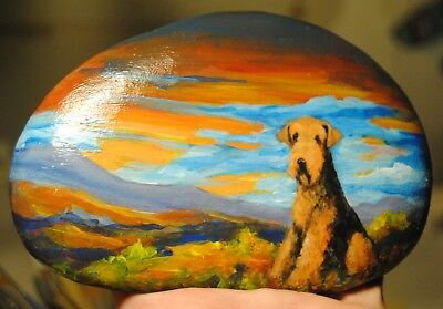 Hand Painted~ROCK~~Airedale Terrier~Dog~Original Painting~SToNE~Whimsical~Sunset
