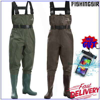 FISHINGSIR PVC Nylon 2-PLY Chest Waders Rubber Boot Foot Waders w/ Cleated Sole