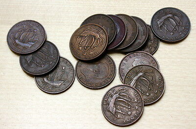 1937 -1950 Lot of 14 Different Great Britain Half Penny Coins