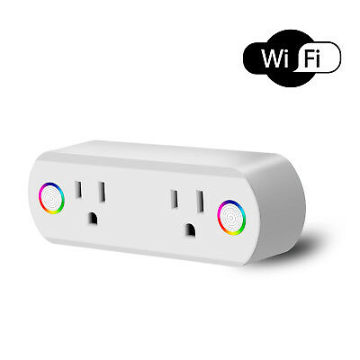 Wifi Smart Socket Dual Port Plug Google Home Alexa Remote Control Work Outlet
