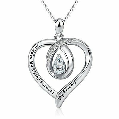 """Always My Sister Forever My Friend"" 925 Sterling Silver CZ Love Heart Necklaces"