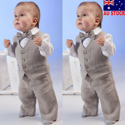 Baby Boy Kid Striped Tuxedo Shirt Tops Long Pants Party Outfit Formal Suit Set
