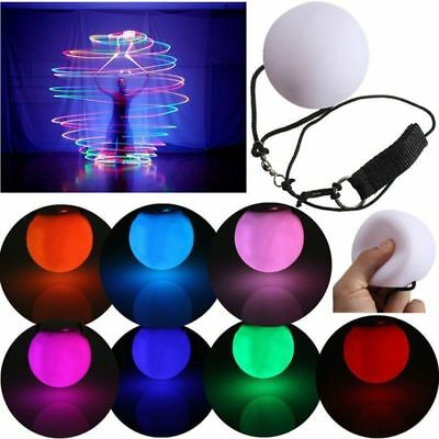 Light Up Poi Ball Glow Rave Thrown Ball LED for Rave Belly Dancer Prop New AU