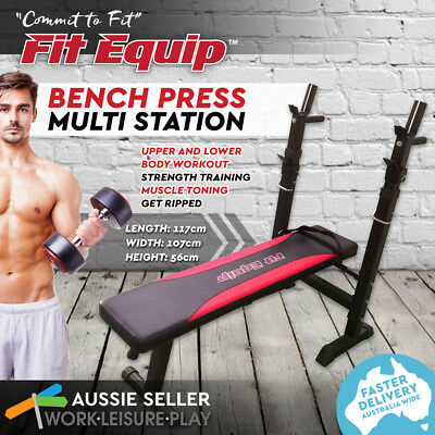 Multi-Station Weight Bench Press Fit Equip Upper Body Home Gym Weights Station