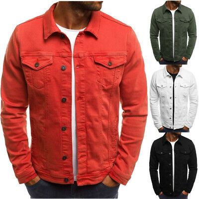 Vintage Men's Slim Fit Classic Retro Buttons Coat Jacket Casual Outwear Tops AU