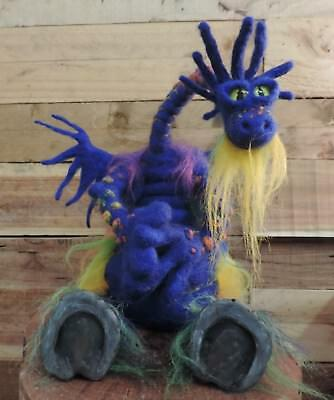 Fully poseable handmade Rainbow Rain Dragon. Ooak collectible fanasty creature