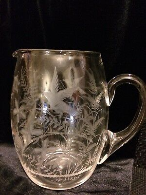 Beautiful Extra Rare Antique Vintage victorian Glass jug engraved, Rare