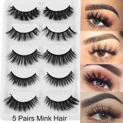 SKONHED 5Pairs 3D Mink Hair False Eyelashes Extension Thick Long Cross Lashes AU