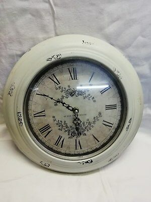 (109)      French Round Wall Clock Made By Eglise Of Paris Quartz Battery Moveme