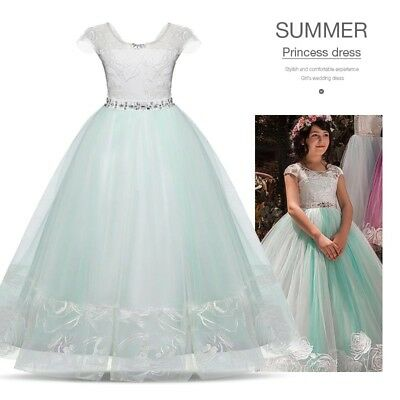 Full Length Flower Girl Maxi Dress Lace Tulle Wedding Birthday Party Girls Dress