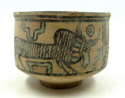 Authentic Ancient Indus Valley Terracotta Bowl W/ Stag & Bull - L632