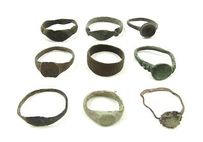 Authentic Lot Of 9 Ancient Roman / Medieval Bronze Rings - Wearable - H261