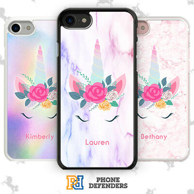 PERSONALISED UNICORN FLORAL Custom Name Phone Case Cover For iPhone Samsung
