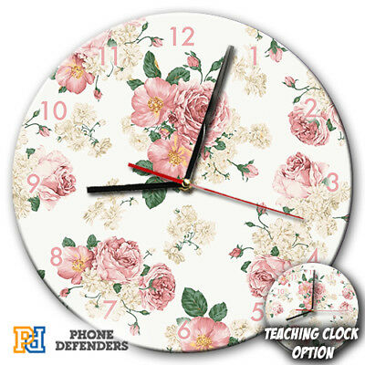 WHITE FLORAL FLOWER ROSES TROPICAL Wall Clock Teaching Learn Gift Bedroom Kids