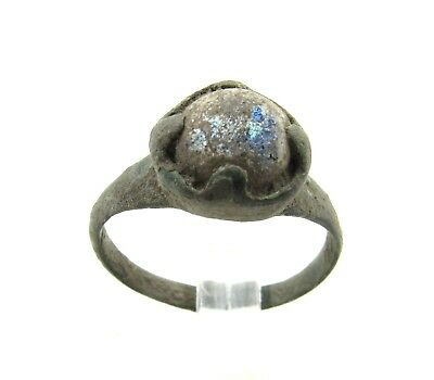 Authentic Late Medieval Tudor Bronze Ring W/ Stone In Bezel - Wearable - H285