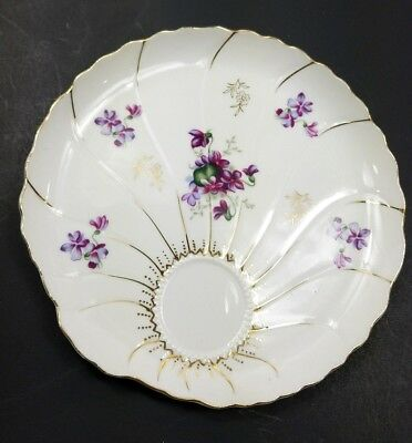 Vintage Lefton China Snack Plate Hand Painted, Beautiful Purple & Gold Flowers