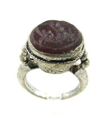 Authentic Post Medieval Silver Ring W/ Carnelian Horse - Wearable - H287