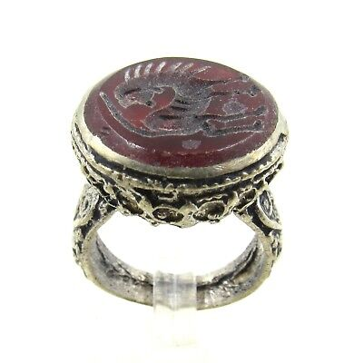 Authentic Post Medieval Silver Ring W/ Carnelian Beast - Wearable - H288