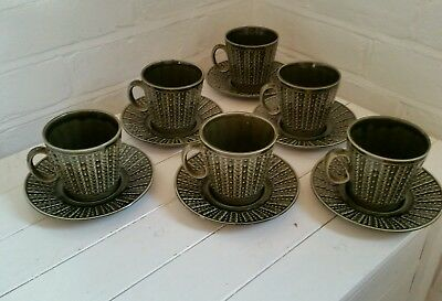 Vintage set of 6 green Tams cups and saucers Glazed made UK retro kitchenalia