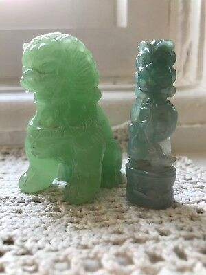Jadeite seated Foo dog and smaller jade carving of Guardian Lion.  H 6cm.
