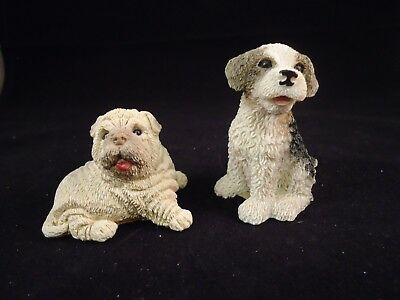 Stone Critter Shar-Pei and other dog puppies Figure unmarked Stone Composite -a2